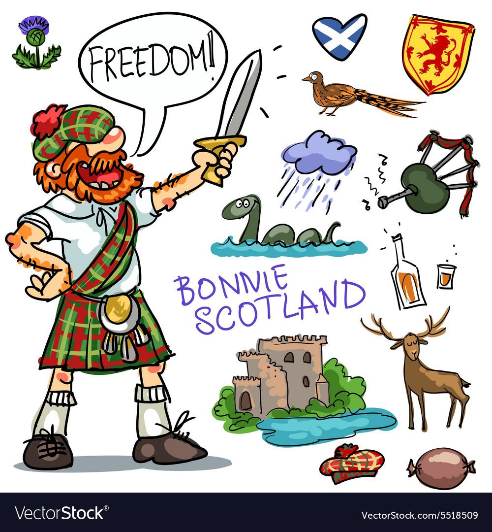 Bonnie Scotland cartoon clipart collection.