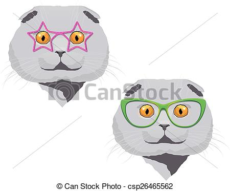 Clip Art Vector of Scottish fold cat with glasses.