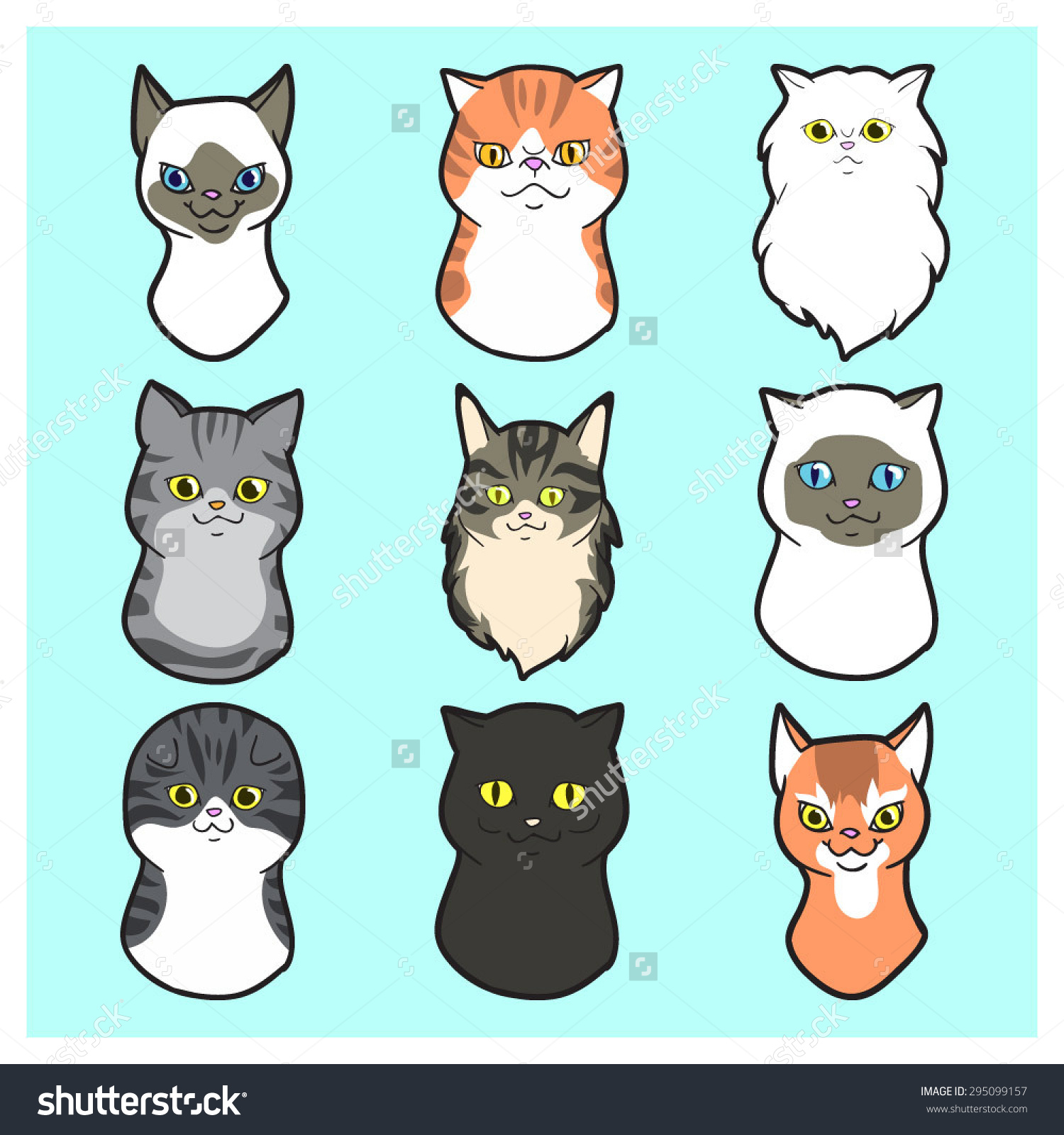 Cute Cartoon Cats Faces Set Exotic Stock Vector 295099157.