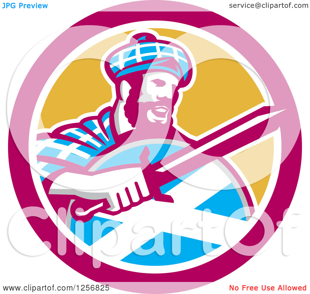 Clipart of a Retro Scottish Highlander with a Sword and Shield in.