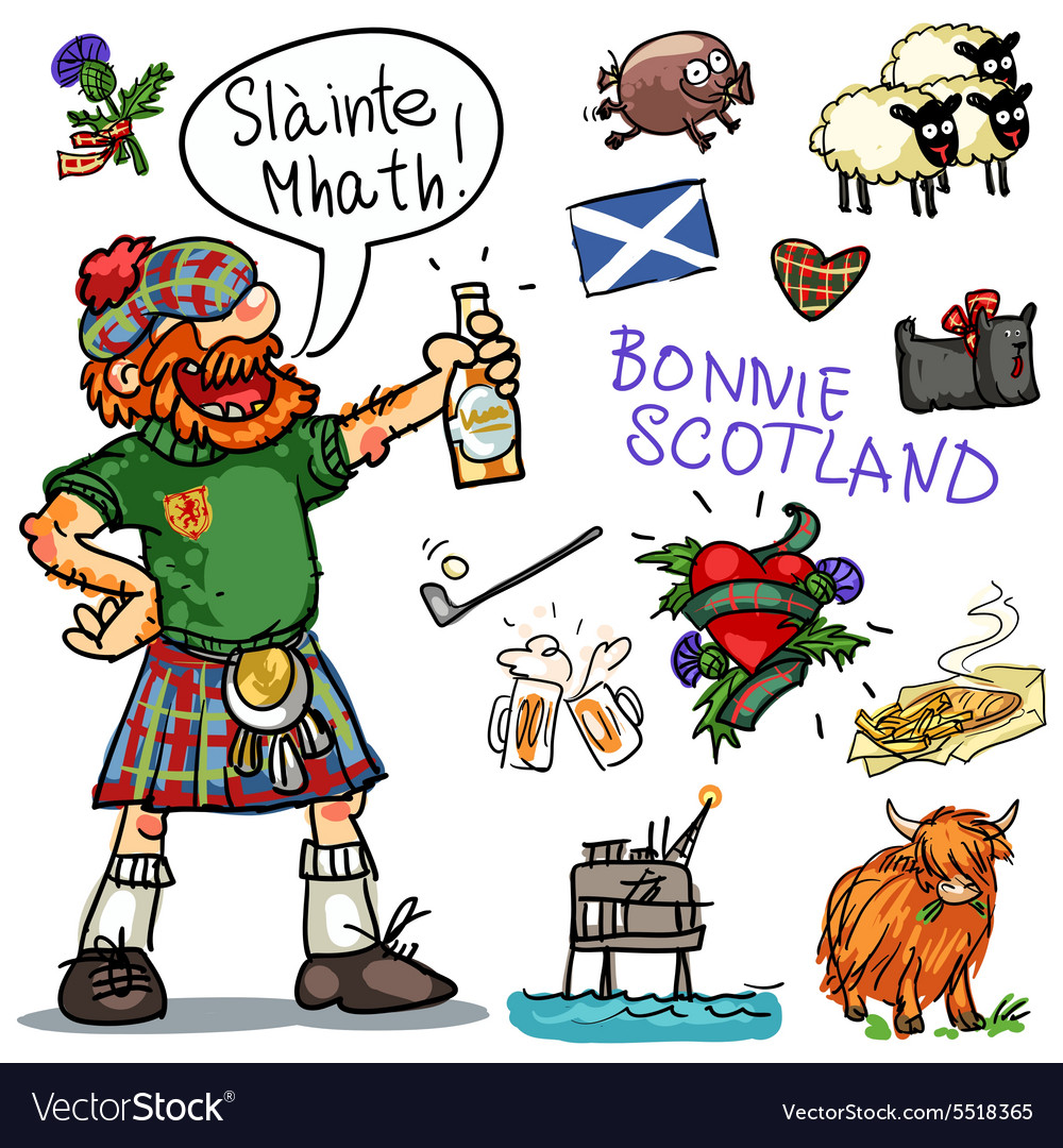 Bonnie Scotland cartoon clipart collection.