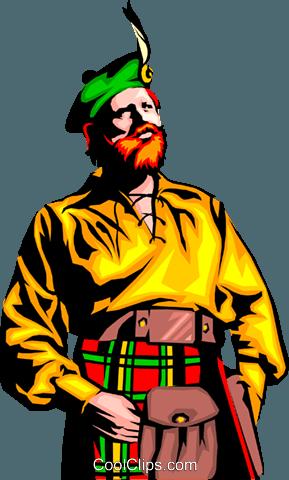 Scottish man Royalty Free Vector Clip Art illustration.