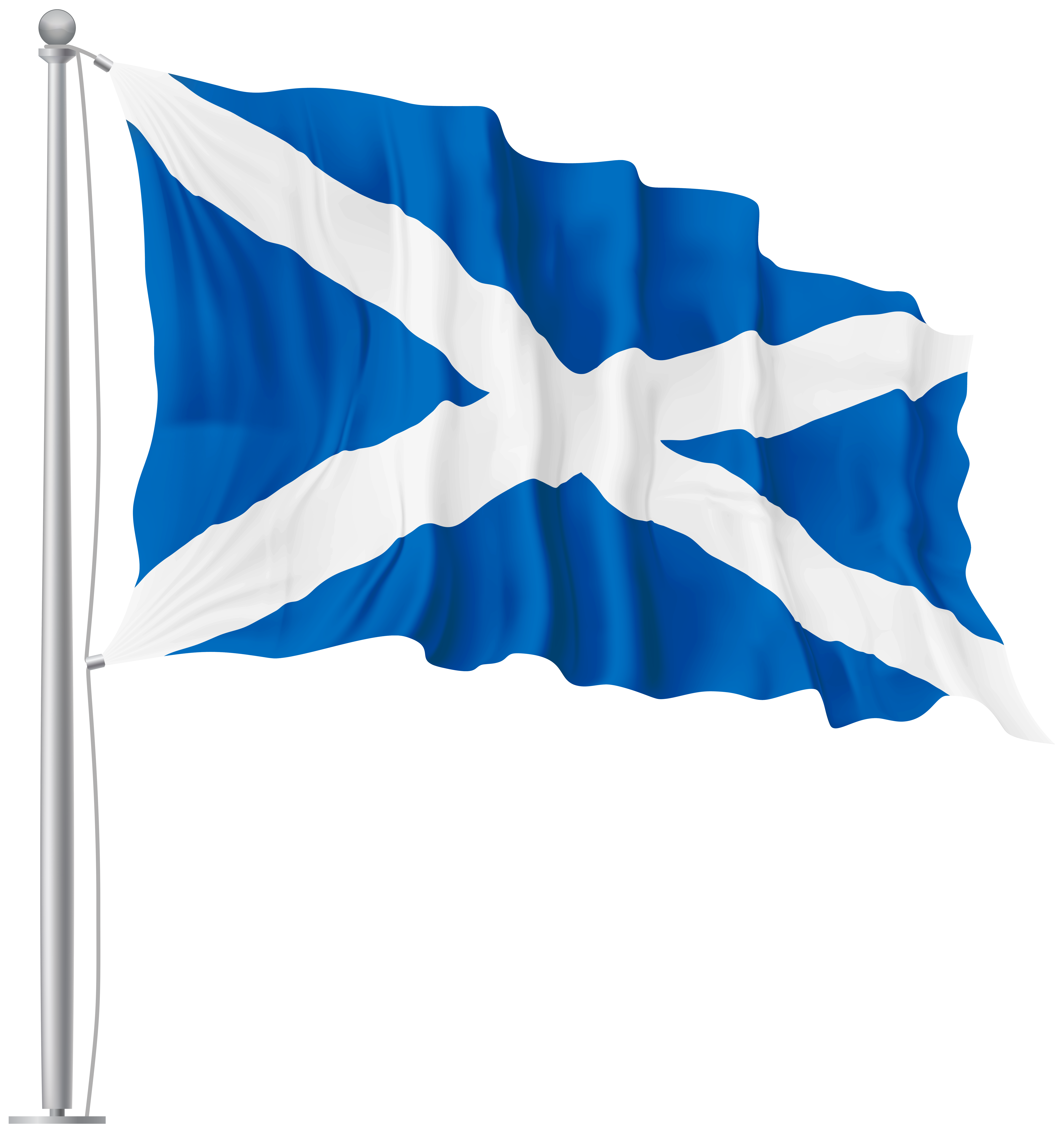 Scotland St Andrew Waving Flag PNG Image.