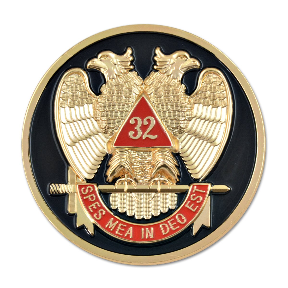 D575SR1 Scottish Rite 32nd Masonic Auto Emblem Black.