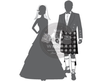 Bride And Groom Kilt Clipart.