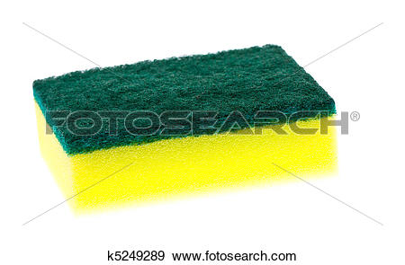 Stock Photograph of Colorful new clean scrubber pad or scourer.