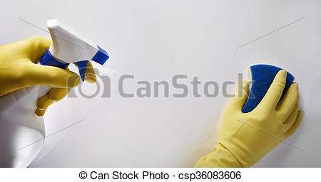 Stock Photography of Hands of cleaning staff with scourer and.