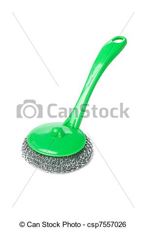 Stock Image of Wire scourer with green plastic handle on white.