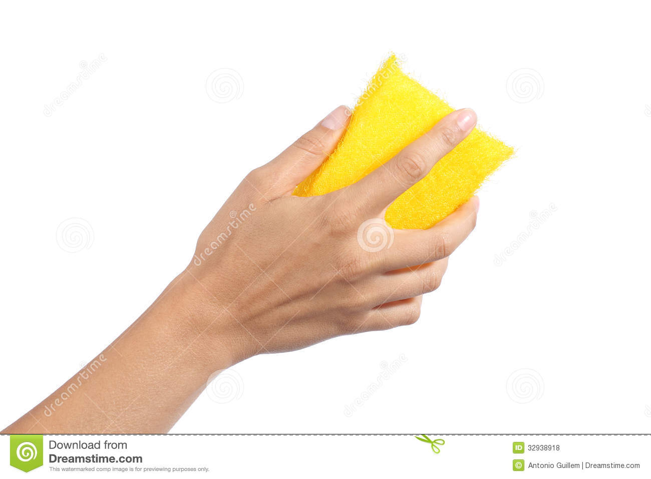 Woman Hand Holding A Scourer Royalty Free Stock Photos.