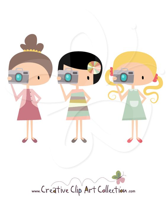 Girl with #Camera #clipart clip art set by Creative Clip Art.