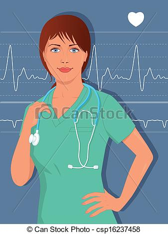 Clipart Vector of Young female nurse or doctor in scr.