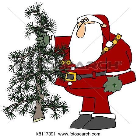 Clipart of Santa Holding A Scraggly Tree k8117391.