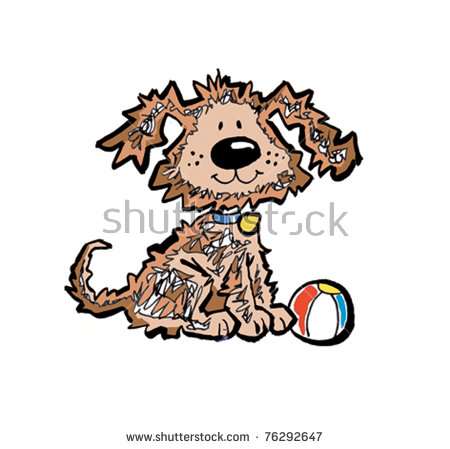 Scraggy Dog With Ball Stock Vector Illustration 76292647.