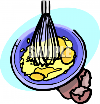 Clipart Picture of a Whisk Scrambling Eggs.