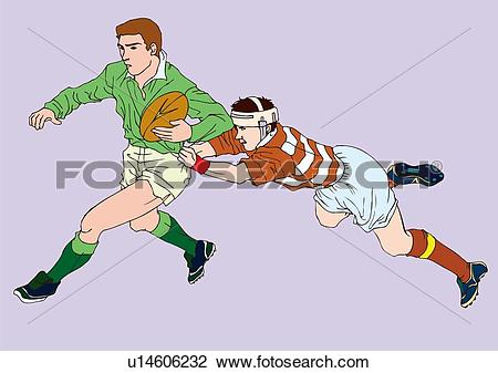 Clip Art of Painting of rugby players scrambling for the ball.