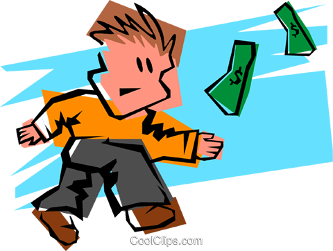 scrambling for dollars Royalty Free Vector Clip Art illustration.