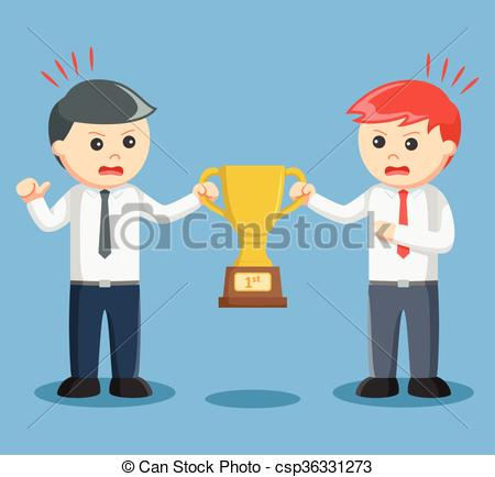 Vectors Illustration of two businessmen scrambling trophies.