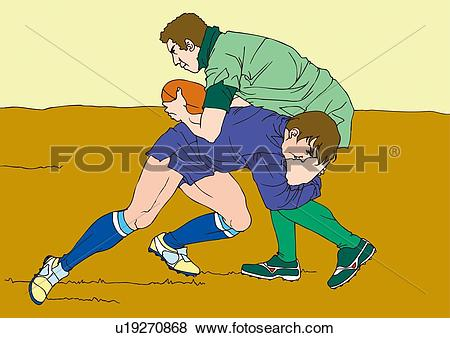 Stock Illustration of Painting of rugby players scrambling for the.