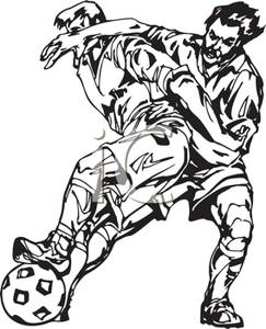 A_Black_and_White_Cartoon_Athletes_Scrambling_For_the_Ball_Royalty_Free_Clipart_Picture_100813.