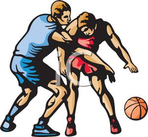 A_Colorful_Cartoon_Two_Athletes_Scrambling_For_the_Basketball_Royalty_Free_Clipart_Picture_101127.