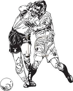 Black and White Cartoon of Athletes Scrambling For a Soccer Ball.