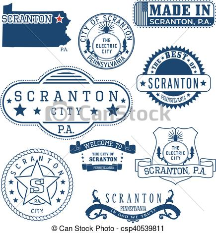 Vector Clip Art of generic stamps and signs of Scranton city, PA.