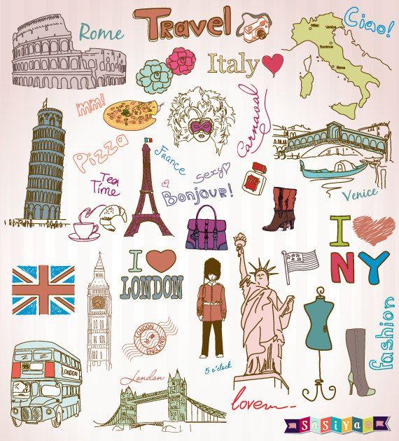 Passport Stamps Clip Art Graphics Travel Clipart Scrapbook Paris.