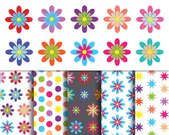 Digital Flower Clipart, Spring Flowers Clipart, Colorful.