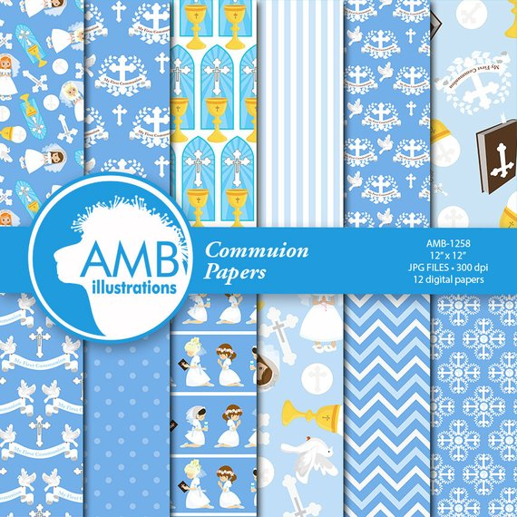 Christian Digital Papers, First Communion Papers, Church.