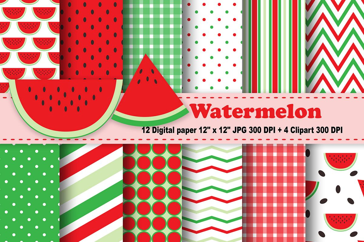 Watermelon Digital Paper, Fruits Background, Fruits Printable, Scrapbook  Papers, Digital Scrapbooking, Watermelon Clipart..