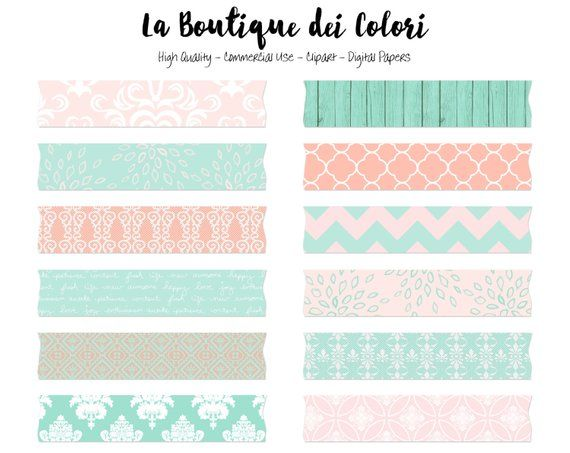 Pink and Mint Wedding Washi Tape Clipart, Cute Safari Clip.