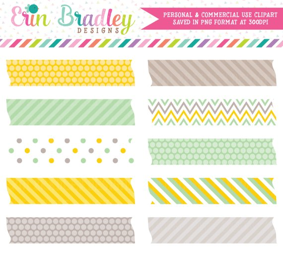 Digital Washi Tape Clipart in Yellow & Green, Digital Clip.