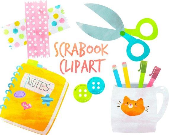 Cute School clipart, School Supplies, Scrapbook Clipart.