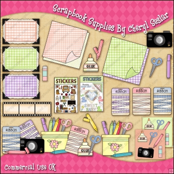 Scrapbook Supplies ClipArt Graphic Collection.