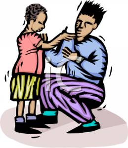 Colorful Cartoon of a Child Showing a Scrape To His Father.