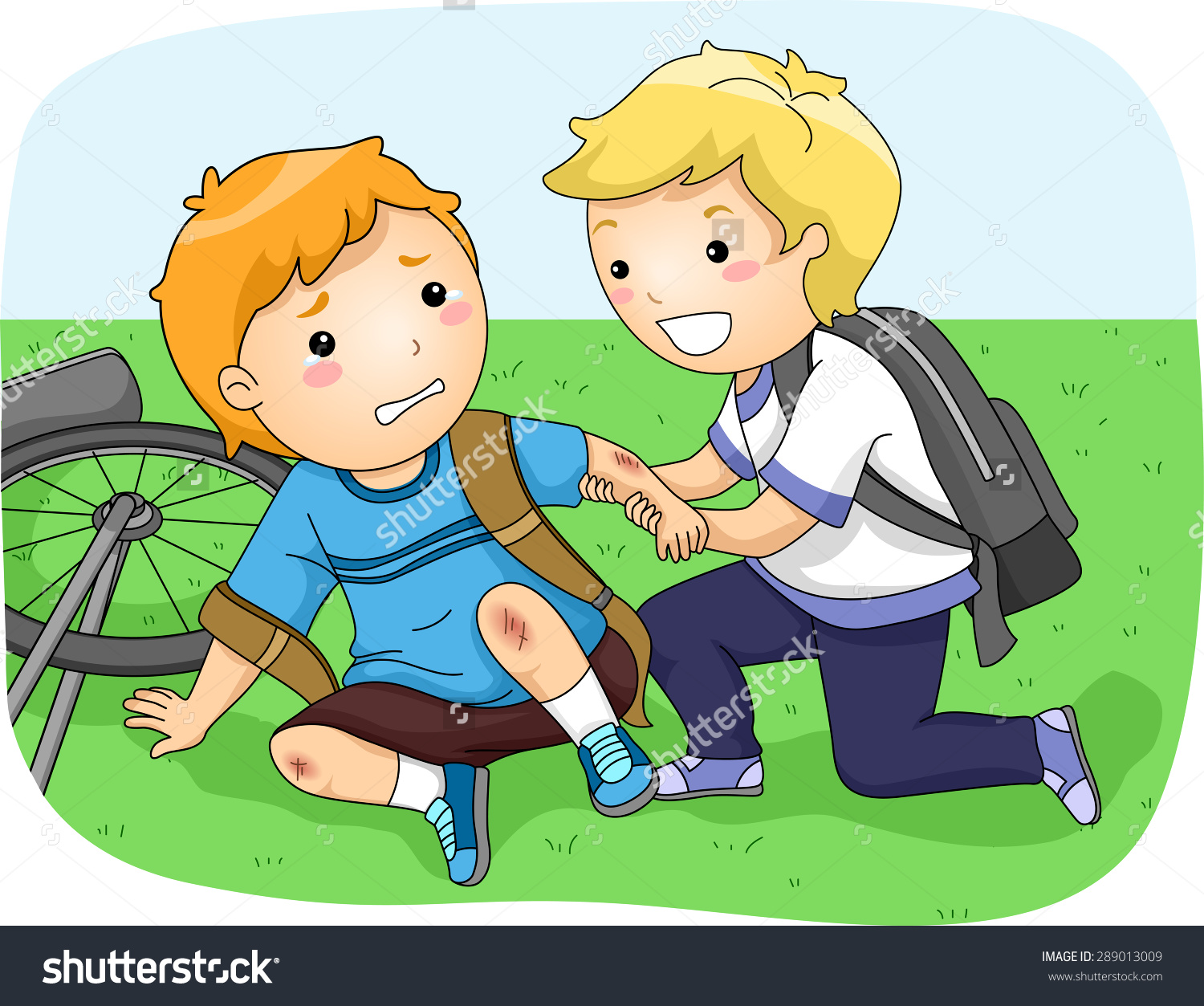 Illustration Little Boy Helping Another Boy Stock Vector 289013009.
