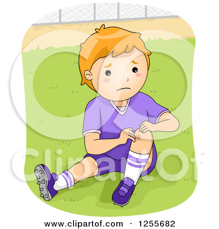 Clipart of a Caucasian Boy Showing a Knee Scrape from Playing.