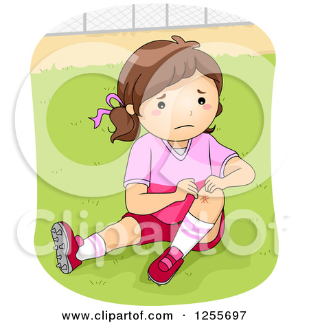Clipart of a Football Player Girl Showing a Scraped Knee.