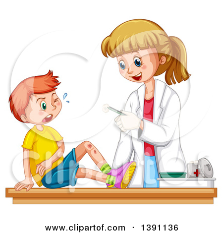 Clipart of a Female Caucasian Pediatric Doctor Tending to a Boy.