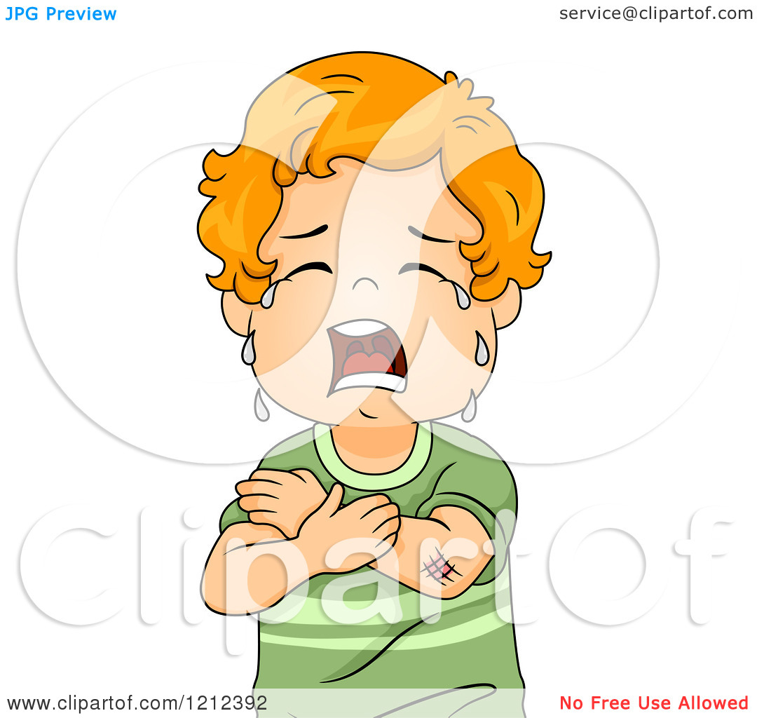 Cartoon of a Red Haired Toddler Boy Crying over a Scratch.