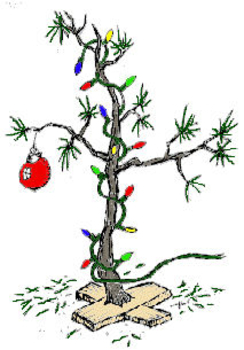 Clip Art Picture of a Scrawny Christmas Tree.
