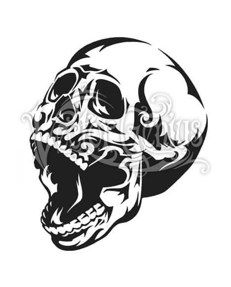 Tribal Screaming Skull Tattoo Skeleton Clip Art.