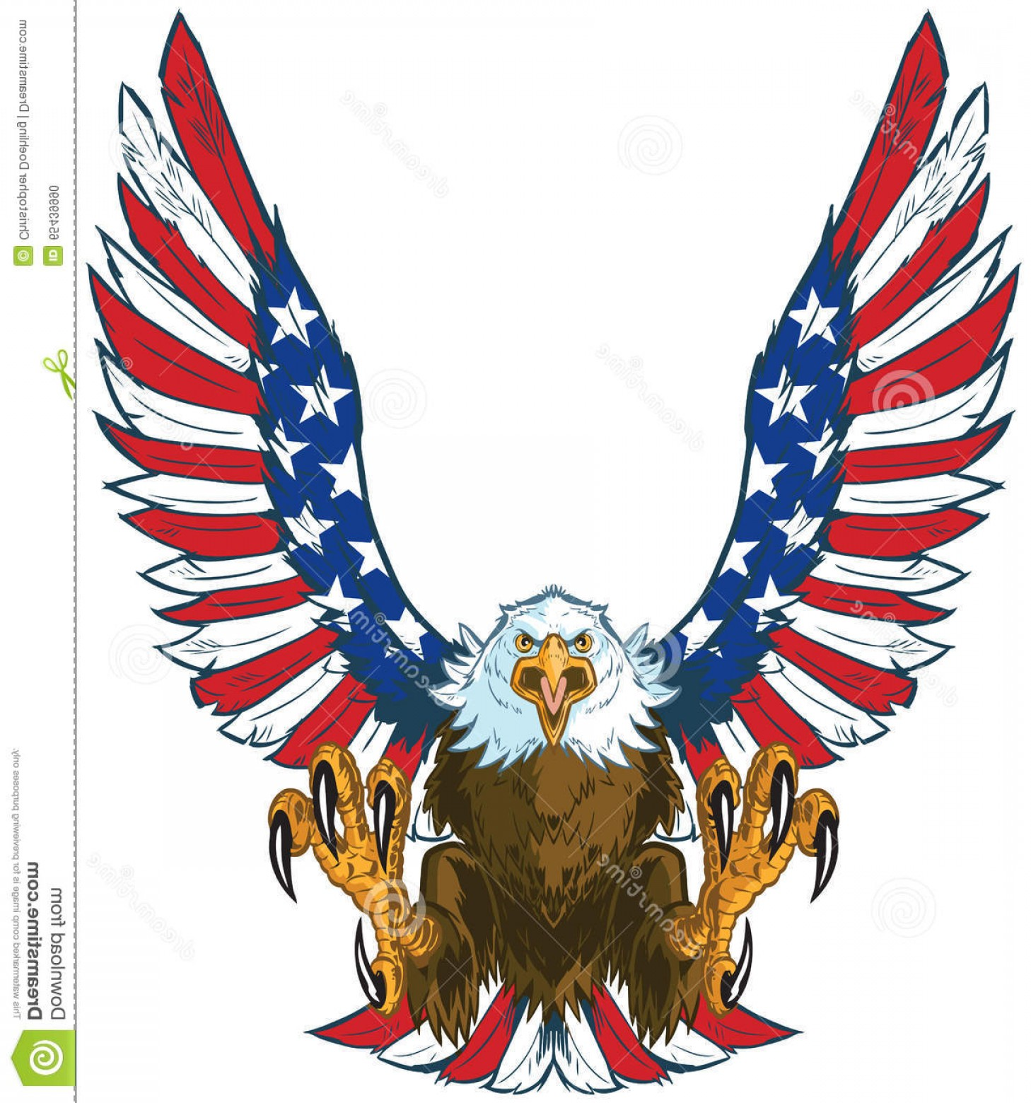 Stock Illustration Screaming Eagle American Flag Wings.