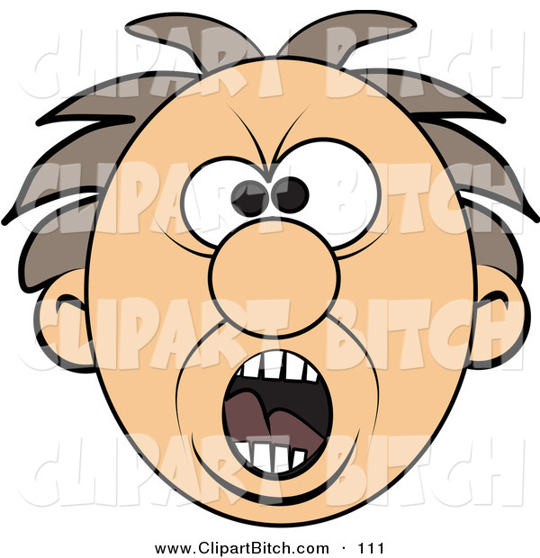 Clip Vector Art of a Screaming Mad Man\'s Face Looking.