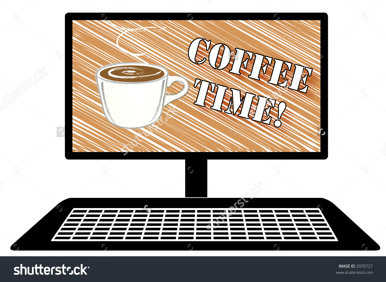 Illustration Of Desktop Computer With Sketch Of Mug Of Coffee And.