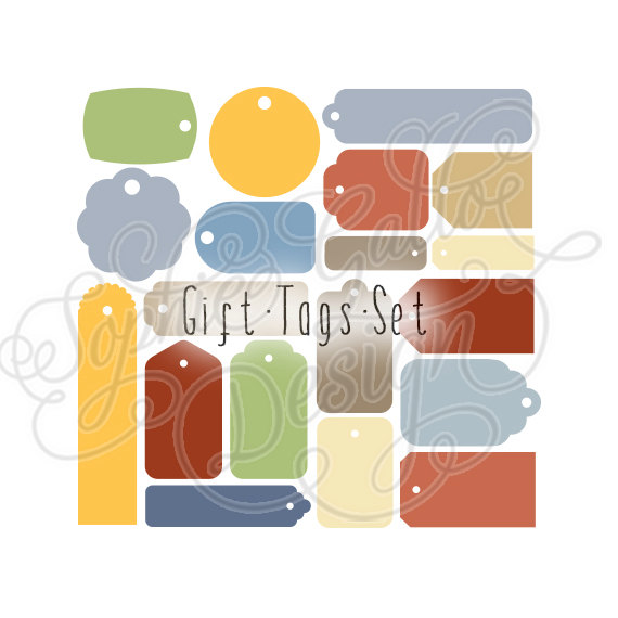 Holiday Birthday Gift Tags Set SVG DXF digital download file.