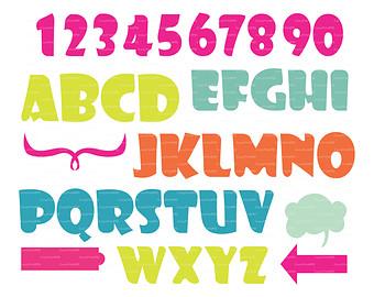 SVG cutting template Alphabet numbers vector Clip Art Files, Vinyl.