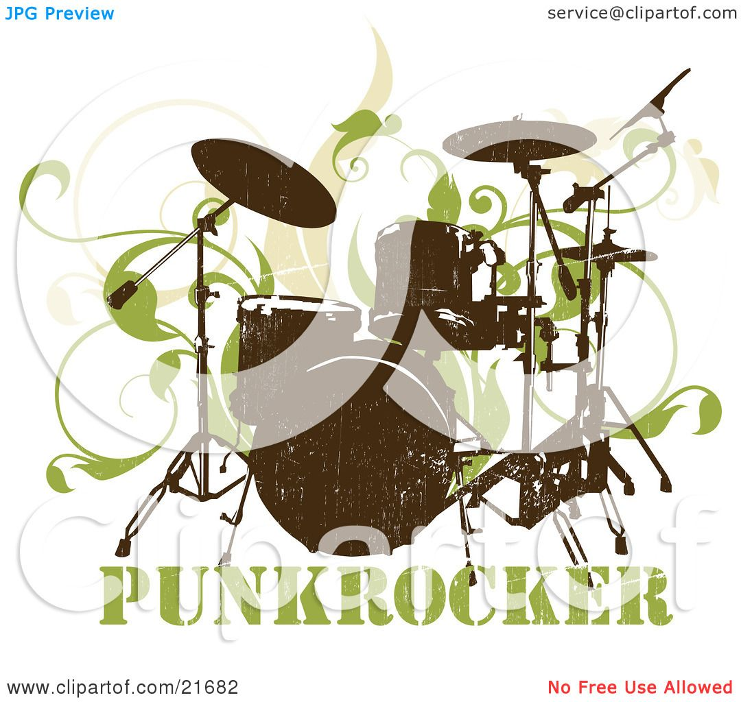 Musical Clipart Picture Illustration of a Silk Screened Drumset.