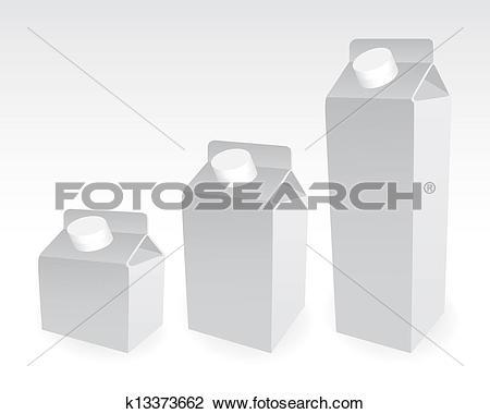 Clip Art of Set of milk boxes, milk carton with screw cap.