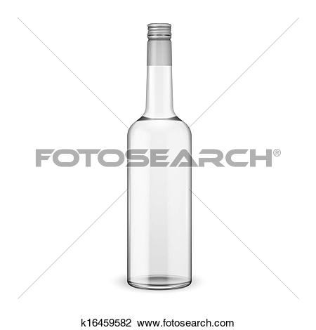 Clipart of Glass vodka bottle with screw cap. k16459582.